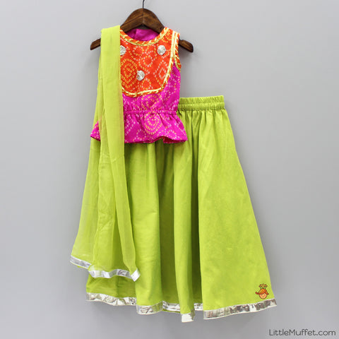 Pre Order: Bandhani Top With Green Ghagra