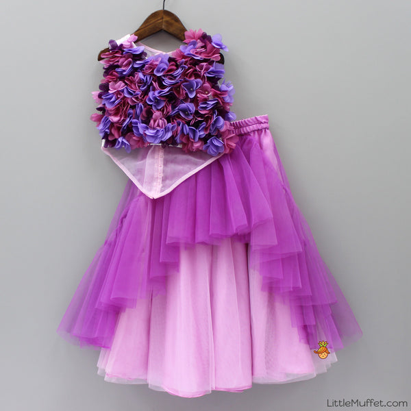 Pre Order: Flowery Pink And Purple Ghagra