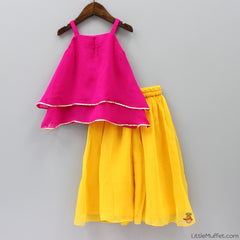 Pre Order: Pink And Yellow Palazzo Set