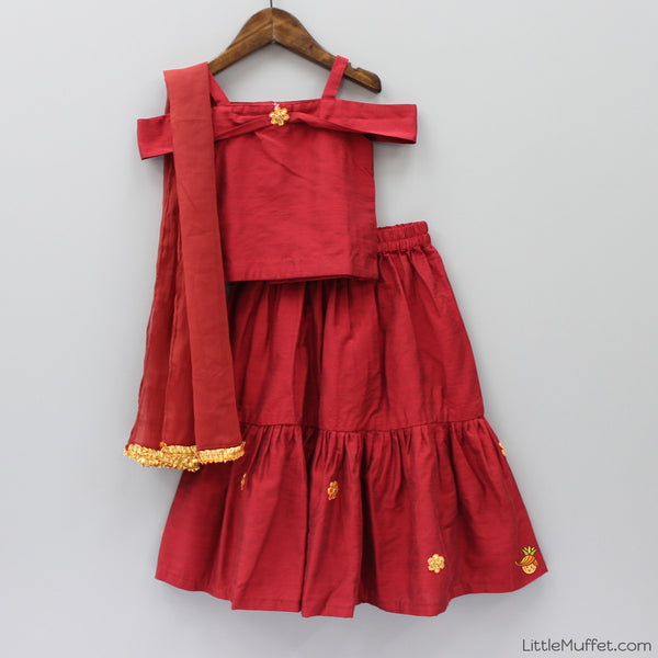Pre Order: Off Shoulder Red Ghagra