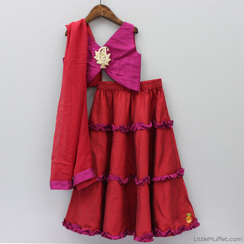 Pre Order: Pink And Red Ghagra Choli