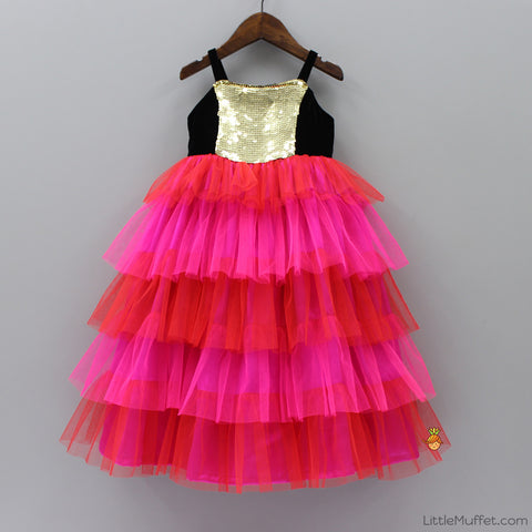 Pre Order: Bright Pink And Red Frilled Gown