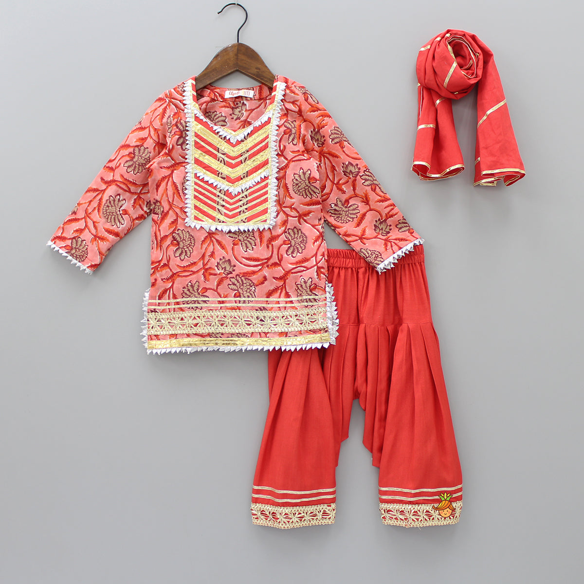 Pre Order: Red Gota Kurti And Patiala Set