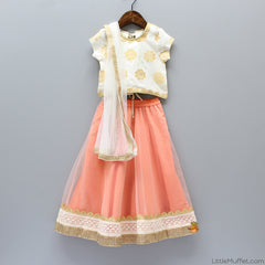 Pre Order: White Top and Peach Ghagra