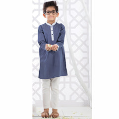 Navy Blue Kurta With White Churidar