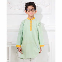 Mint Green Katha Embroidered Kurta With White Chudidar