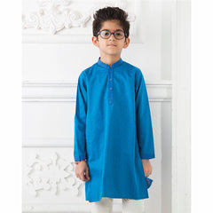 Blue Kurta With White Churidar