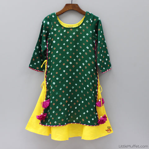 Pre Order: Bandhej Dress - Green And Yellow