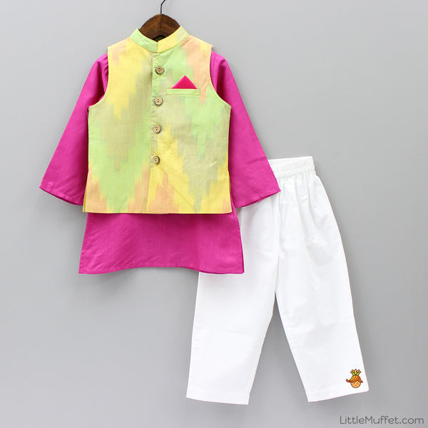 Pre Order: Pink Kurta Pyjama Set With Jacket
