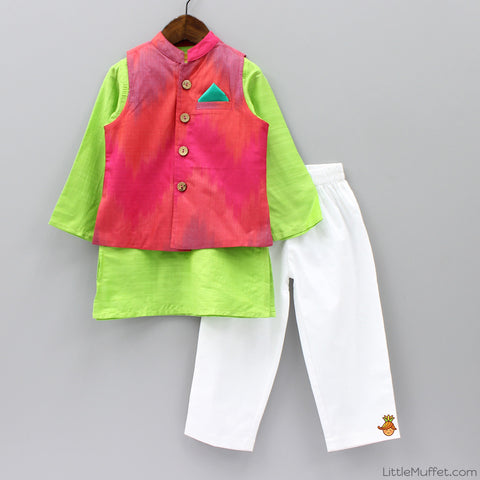 Pre Order: Green Kurta Pyjama Set With Jacket