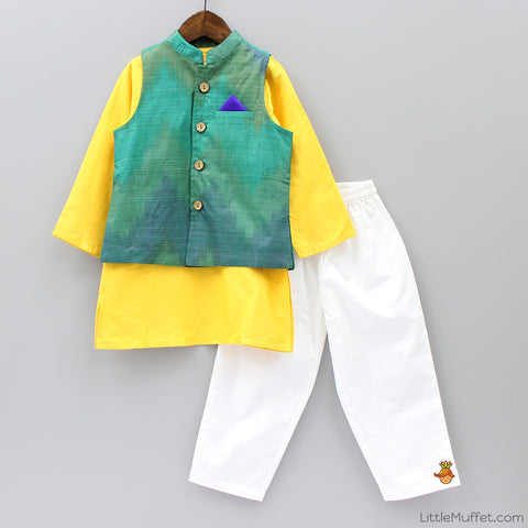 Pre Order: Yellow Kurta Pyjama Set With Jacket