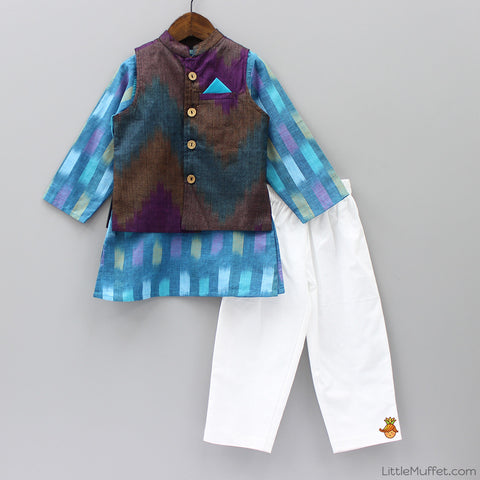 Pre Order: Blue Kurta Pyjama Set With Jacket