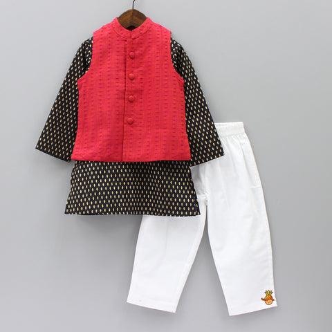Pre Order: Black Hand block Kurta Pyjama Set With Jacket