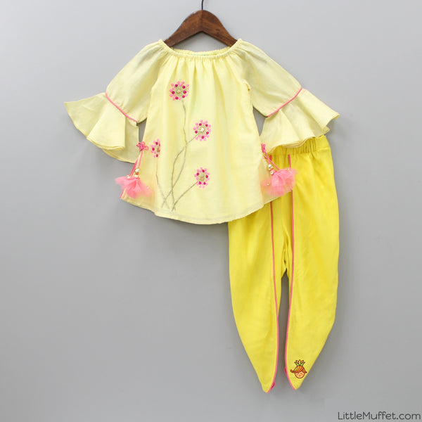 Pre Order: Off Shoulder Yellow Top And Tulip Pants