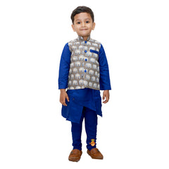 Asymmetric Kurta And Churidar With Elephant Print Jacket
