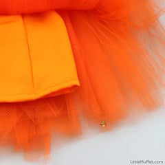Pre Order: Golden Peplum Top With Orange Tutu Ghagra