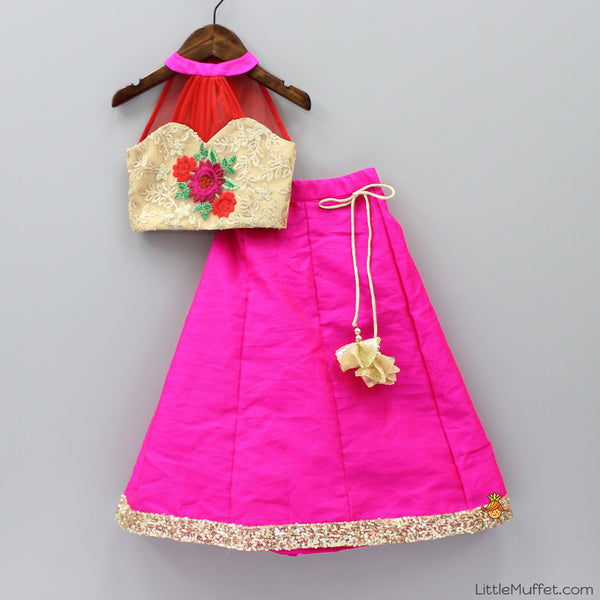 Pre Order: Gold And Pink Ghagra Choli