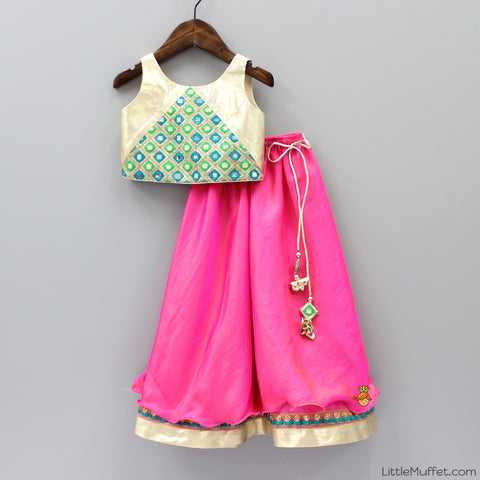 Pre Order: Golden Top With Shaded Pink Ghagra