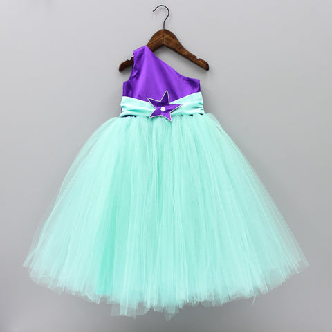 Pre Order : One Shoulder Green And Purple Tutu Gown