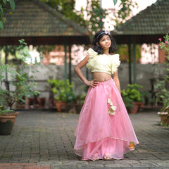 Pistachio Green Choli With Pink Lehenga