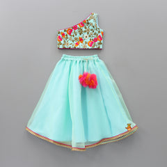 Pre Order: Turquoise One-Shouldered Top And Lehenga With Dupatta
