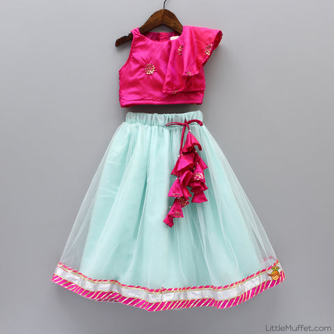 Sleeveless Hot Pink Top With Aqua Blue Ghagra