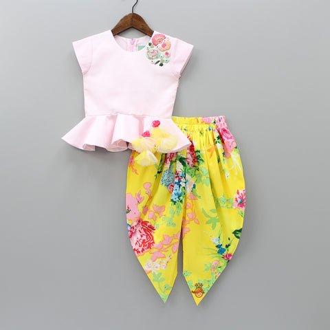 Baby Pink Peplum Top with Yellow Printed Dhoti