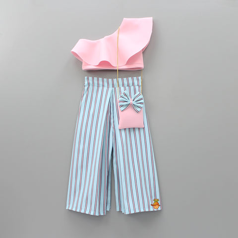 Pre Order: Baby Pink Crop Top with Striped Palazzo