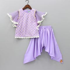 Pre Order: Purple Bottie Net Kurti With Dhoti