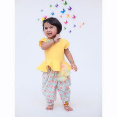 Pre Order: Yellow Embroidered Peplum And Printed Dhoti