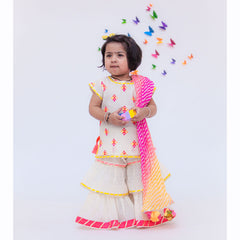 Pre Order: Off-White Multicolour Bootie Kurti And Sharara