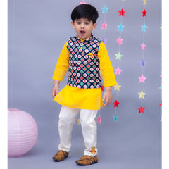 Pre Order: Yellow Kurta And Off-white Pant With Printed Jacket