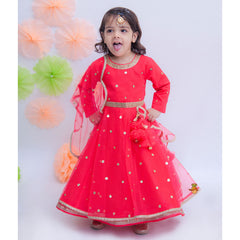 Pre Order: Coral Anarkali Gown With Attached Dupatta