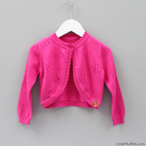 Pointelle Hot Pink Shrug
