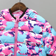 Printed Pink And Blue Hooded Jacket