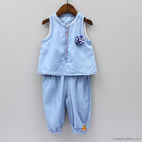 Cotton Denim 3/4th Jumpsuit