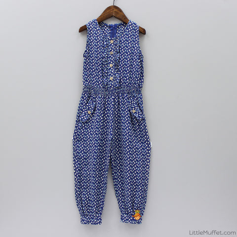 Printed Flower 3/4th Jumpsuit