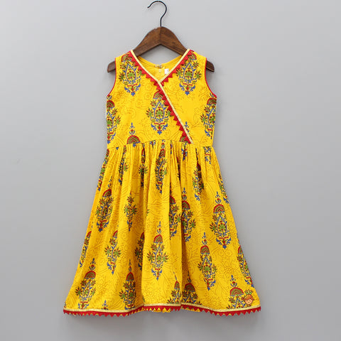 Yellow Angarkha Style Long Dress