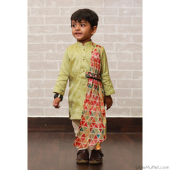 Pre Order: Triangle Drape Kurta And Churidar Set