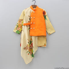 Pre Order: Orange Floral Kurta And Churidar