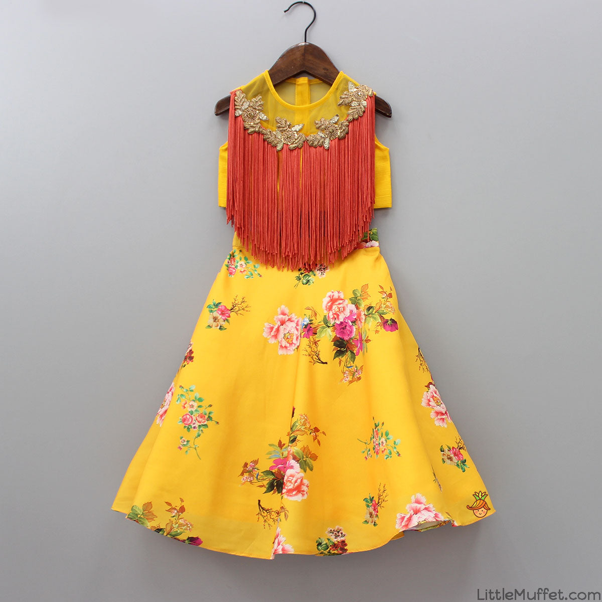 Pre Order: Yellow Fringe Top With Floral Skirt