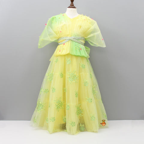 Pre Order: Yellow And Green Pleated Top And Ghagra