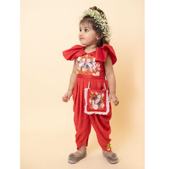 Pre Order: Red Sequin Bird Embroidered Dhoti Jumpsuit With Pouch