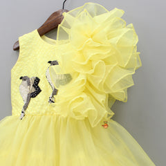 Pre Order: Yellow Dress With Bird Motif