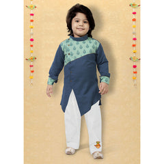 Asymmetric Teal Kurta And Pyjama