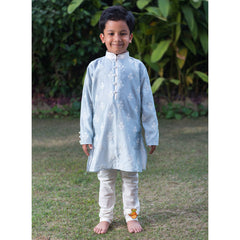 Light Blue Embroidered Kurta And White Churidar