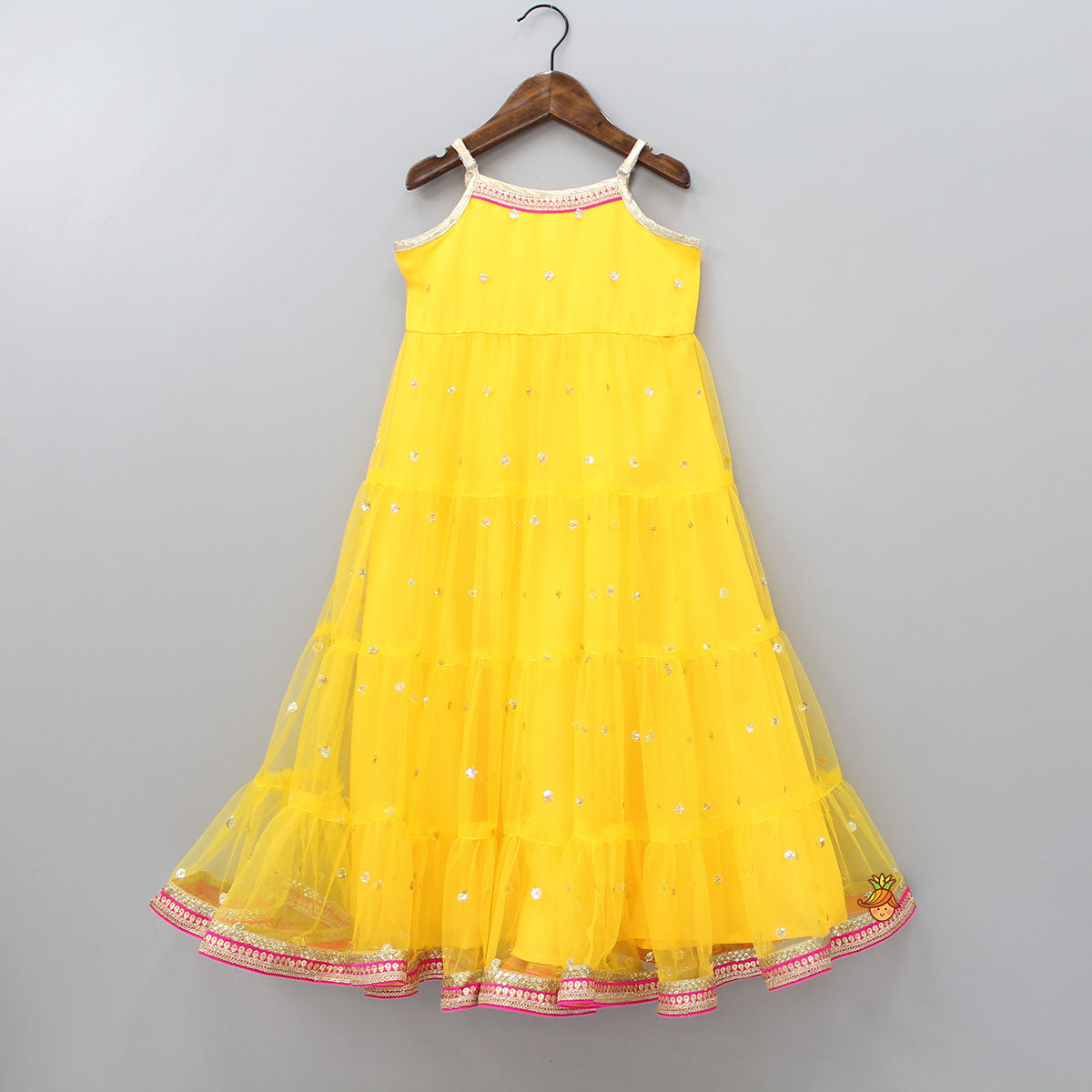 Yellow Sequin Embroidered Gown