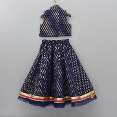 Navy Blue Printed Top And Lehenga With Dupatta