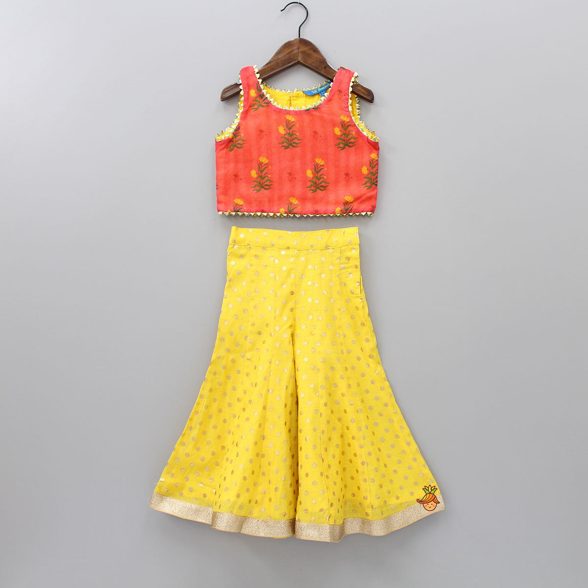 Floral Printed Top And Yellow Polka Print Palazzo