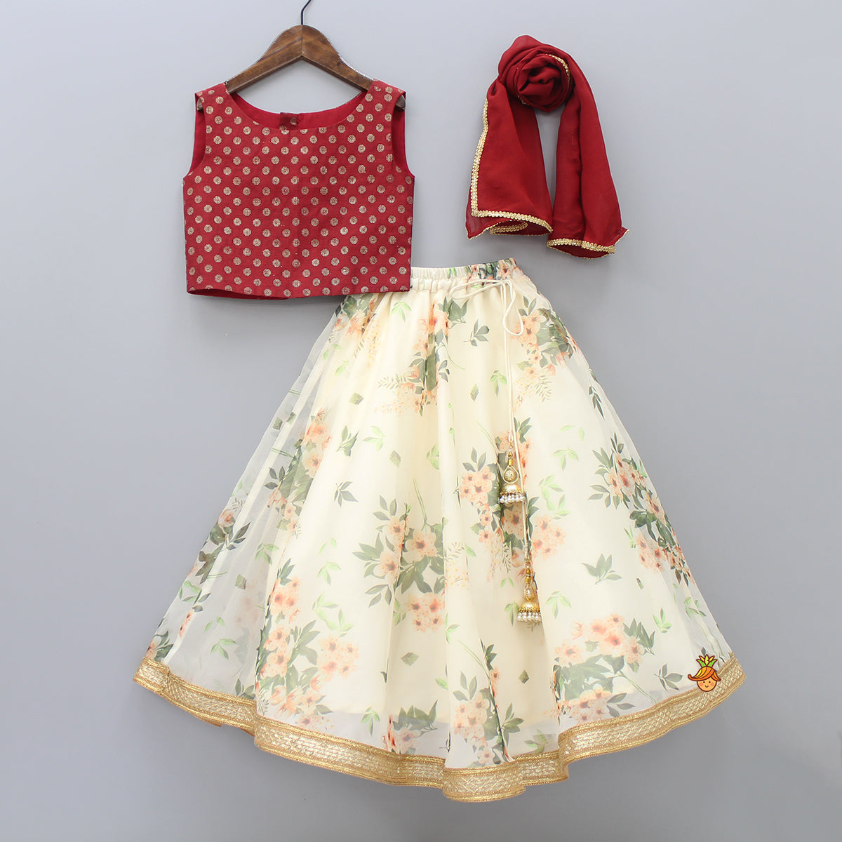 Brick Red Top And Floral Print Lehenga With Dupatta